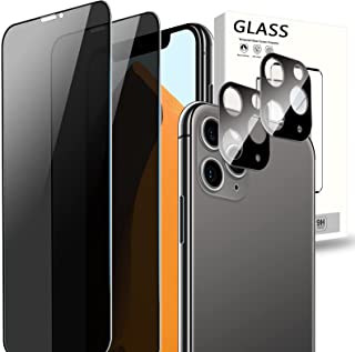 [2+2 Pack] Cnarery Privacy Screen Protector for iPhone 11 Pro Max(6.5 inch), 2 Pack Privacy Tempered Glass Screen Protecto...