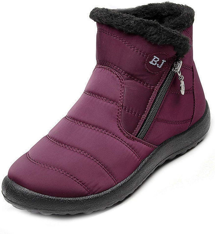 GIY Women's Winter Snow Ankle Booties Warm Fur Waterproof Boots Zipper Flat Low Heel Snow Short Bootie