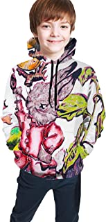 Cyloten Kid's Sweatshirt Smock Rabbit and Fruit Cartoon Novelty Hoodies Comfortable Warm Hooded Top Sweatshirt