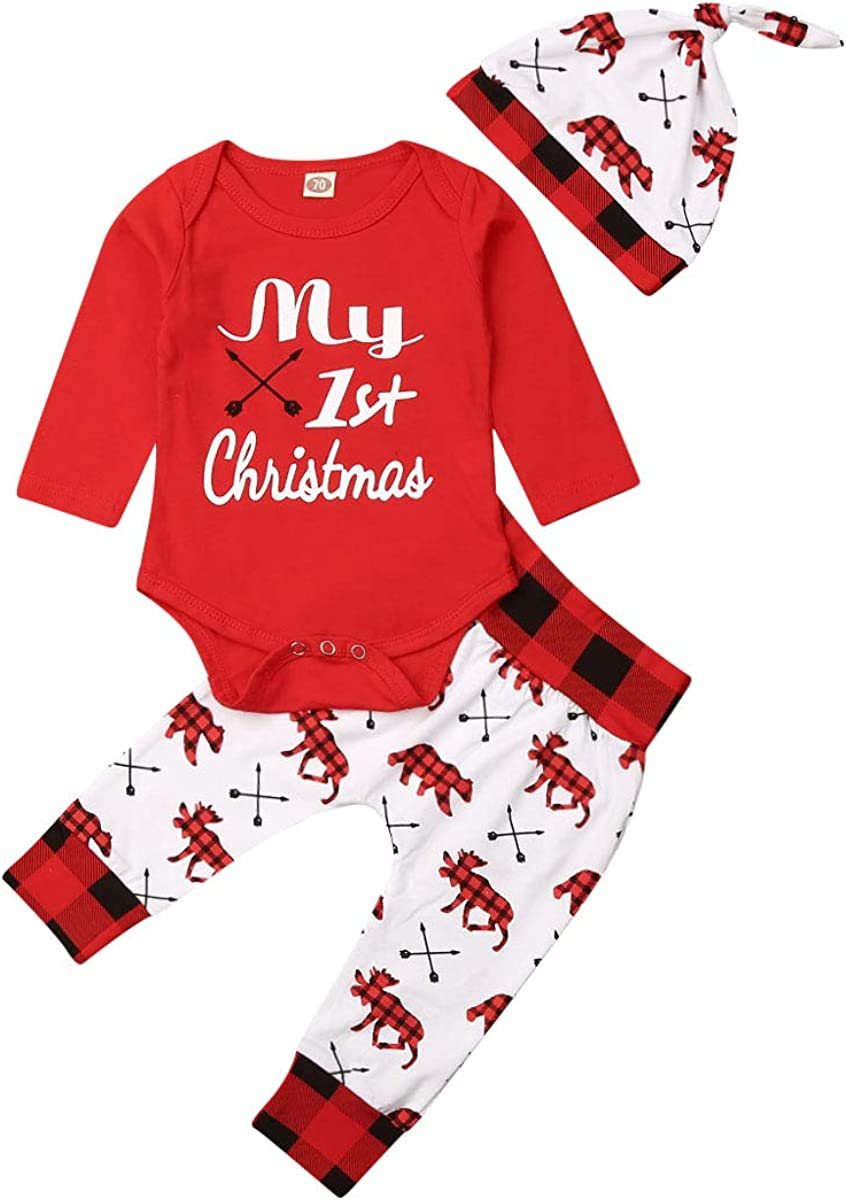 Geagodelia My 1st Christmas Ensemble de 3/v/êtements de No/ël pour nouveau-n/é avec un body /à manches longues//un pantalon imprim/é//1/chapeau Rouge