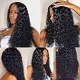 Ruiyu Peluca de pelo humano rizado 360 Encaje frontal peluca pre plucked con pelo de bebé pelucas de pelo humano brasileño para las mujeres Remy peluca rizada profunda (20 pulgadas, color natural)