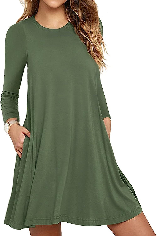 HAOMEILI Women's Long Sleeve Pockets Casual Loose T-Shirt Dresses