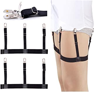 2Pcs Mens Dress Shirt Stays Adjustable Garter Belts Non-slip Clamps