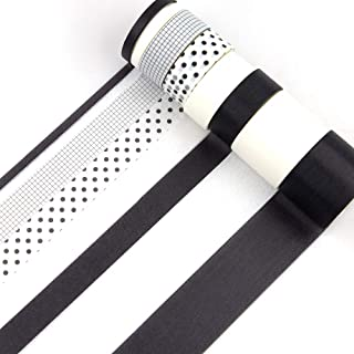 8 Rolls Washi Tape Set Black and White Polka dot Grid Pattern Adhesive Masking Tape