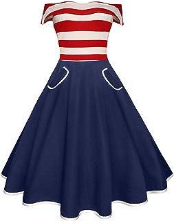 Ez-sofei Women's Vintage 1950s Off Shoulder Striped False Pockets Cocktail Swing Dress