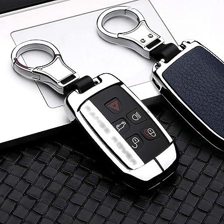 Ontto Smart Autoschlüssel Hülle Abdeckung Schlüssel Tasche Für Defender Discovery Evoque Lr4 Range Rover Sport Jaguar Metall Zink Legierung Leder Schlüsselschutz Keyless Schlüsselbund Silver Blue Auto