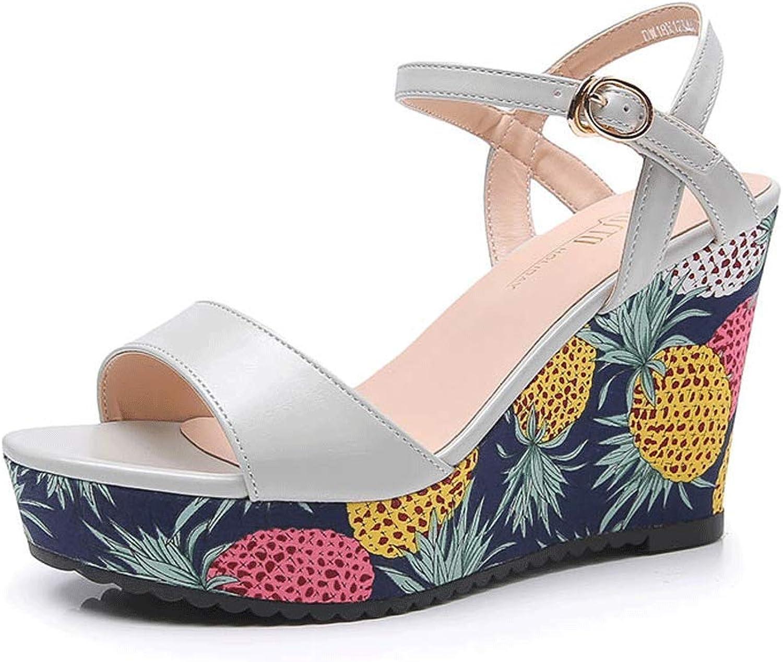 Summer High-Heeled Slope with Fruit Pattern Decorative Sandals shoes (color   1 , Size   EU38 UK5.5 CN38)