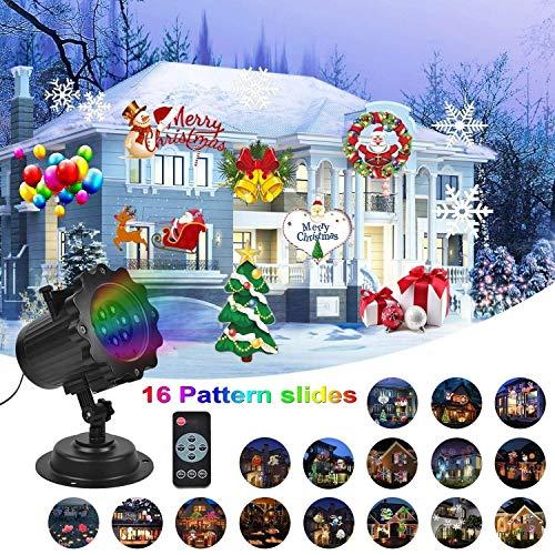 Proiettore Luci Natale, UNIFUN Proiettore Lampada Natale con 16 Lenti Intercambiabili Luce Proiezione Decorazione Natalizia per Natale, Halloween, Festività