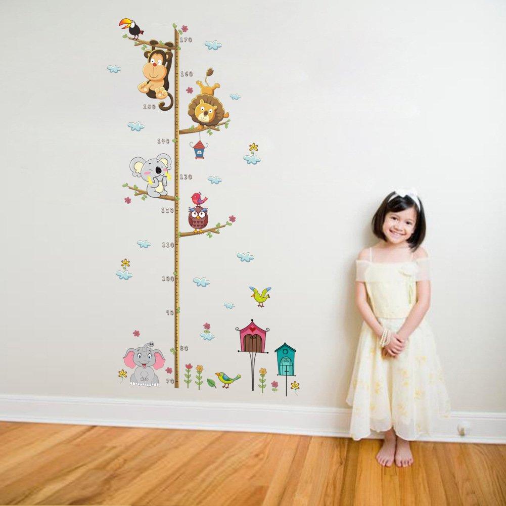 ElecMotive Abnehmbare Messlatte Körpergröße Messen Wandsticker für  Kinderzimmer in Geschenkkarton verpackt Tiere