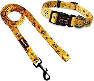 QQPETS Dog Collar Leash Set Adjustable Personalized Basic Collars Leash with Handle for Puppy Medium or Large Dogs Trainin...