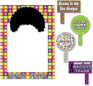 Big Dot of Happiness 70's Disco - 1970s Disco Fever Party Selfie Photo Booth Picture Frame & Props - Printed on Sturdy Material