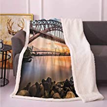 Apartment Decor Warm Blanket Sunset Evening View Picture of Hell Gate and Triboro Bridge Astoria Queens New York Throws and Blankets for Sofa Brown Blue 50