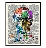 Skull Decor - Skull Wall Decor - Graffiti Skull Wall Art - Gothic Decorations - Goth Wall Art - Grunge Posters Room Decor - Trippy Wall Art - Skull Gifts - Upcycled Dictionary Art Photo