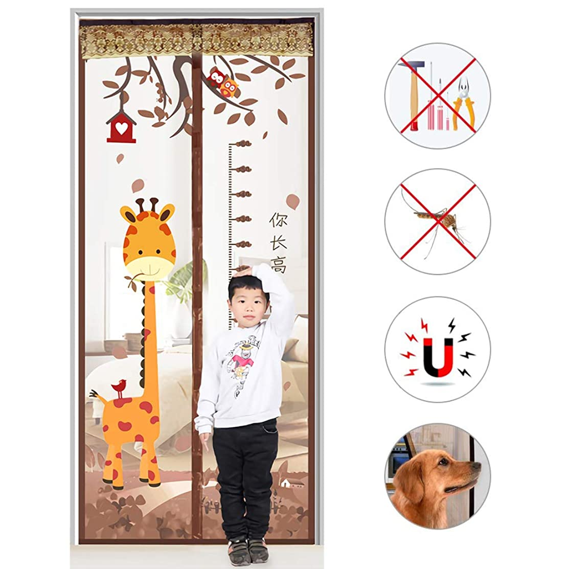 PeiQiH Magnetic Screen Door Super Tight Self Closing, Anti Mosquito Full Frame Hook & Loop Magnets Heavy Duty Mesh Curtain French Door-Coffee 95x210cm(37x83in)