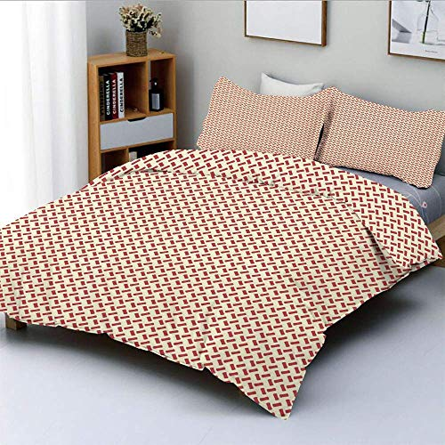Duvet Cover Set,Rounded Small Shapes Conceptual Herringbone Pattern Design Minimalist Maze Inspired Decorative 3 Piece Bedding Set with 2 Pillow Sham,Red Cream,Best Gift For Kid