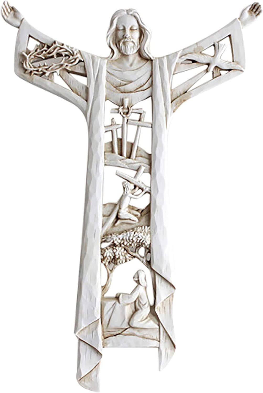 Yowein A Max 76% OFF Risen Christ Wall Cross Han Grain Wood latest Resin Stone