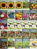 25 Flower Seed Packets Including 10+ Varieties - May Include: Forget Me Nots, Pinks, Marigolds, Zinnia, Wildflower, Poppy, Snapdragon and More