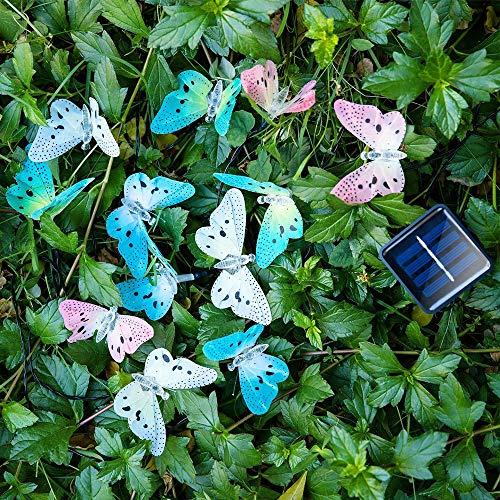 Sunboia - Luci solari a forma di farfalla, 20 LED, a forma di farfalla, a energia solare, da giardino, per camera da letto, patio, albero prato, Natale