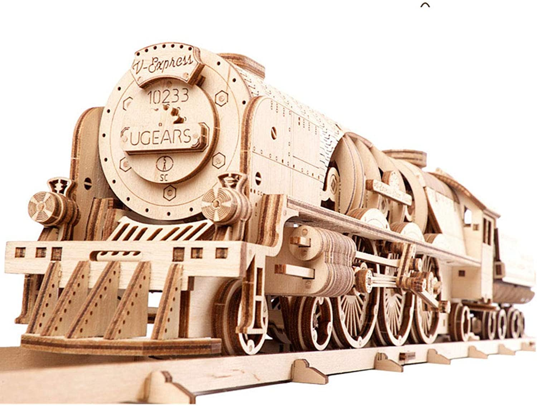 EP-Toy 3D Holz Puzzle Mechanisches Modell, Laserschneiden Spielzeug, Kreative V-Express Lokomotive Und Track Walkable (443 Stücke)