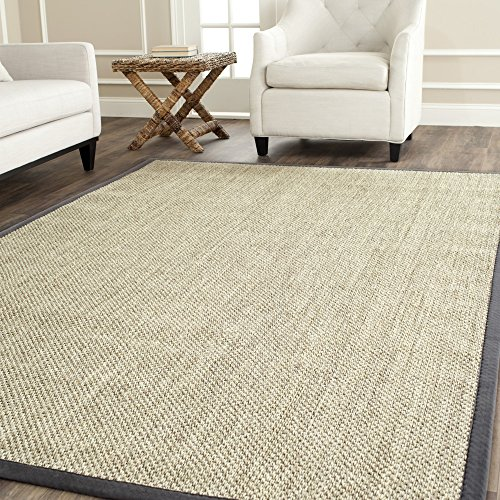 Safavieh Natural Fiber Collection NF443B Border Sisal Area Rug, 8' x 8' Square, Marble / Grey