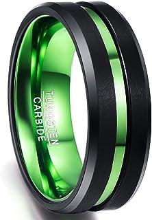 Anillo Mujer Hombre Unisex de Tungsteno Negro + Verde 8mm con Ranura Verde Talla 54 a 75 (Diámetro Interior 17,3mm - 23,8mm)