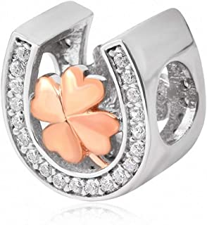 Xuthus Charms Rose Gold Clover with White Crystal Inlay Horseshoe Charm 925 Sterling Silver Beads
