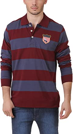 AMERICAN CREW Men's Full Sleeves Rugby Polo T-Shirt