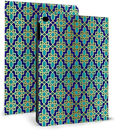 Ipad Mini Case, Ipad Mini 2/3 Case, Ipad Mini 4 Case, Ipad Mini 5 Case, Seamless Blue Gold Ornate Moroccan Tile Cover with Auto Sleep/Wake for 7.9' Ipad Mini 4 5
