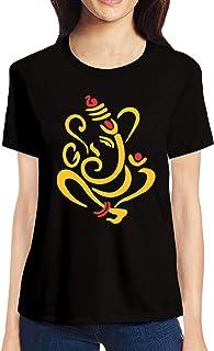 Pooplu Womens Lord Ganesha Cotton Printed Round Neck Half Sleeves Black & White t-Shirt. Hindu God, Ganpati, Ganesh, Bappa, Symbol Tshirts
