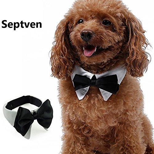 Septven Gute Qualität Gentleman Aussehen Haustier Fliege Kragen Haustier Schal Handtuch Krawatte (XL, Weiß)