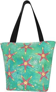 Lesif Einkaufstaschen, Wasserfarben, Seestern, Mandalas, Aquamarin, Pink, Segeltuch, Schultertasche, Einkaufstasche, wiederverwendbar, faltbar, Reisetasche, groß und langlebig, robuste Einkaufstaschen
