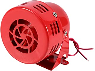 Hlyjoon Red Air Siren Horn 12V Electric Car Truck Motorcycle Driven Air Raid Siren Horn Alarm Loud 50s 110db Volts Metal Material for Any 12 Volt Vehicle