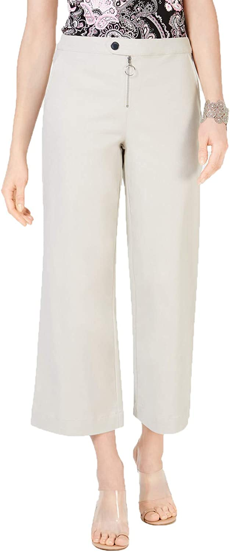 I.N.C. International Concepts Women's Zip-Front Wide-Leg Pants, Khaki, Size 0