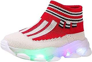 WEXCV Unisex peuters baby jongens meisjes herfst lichte schoenen oplichtende outdoor sport vliegende weven sokken schoenen...