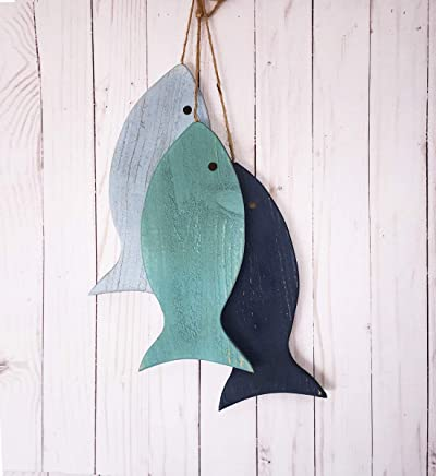 Lake House Decor, Fishing Decorations for Home, Painted String of Fish