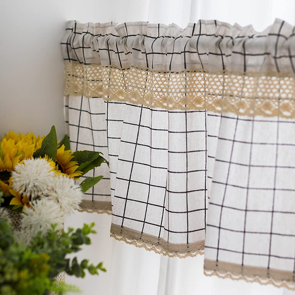 Linen Blend New popularity Kitchen Window Curtains Branded goods with Curtain Tiers Farmhouse