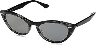 RAY-BAN Women's RB4314N Nina Cat Eye Sunglasses, Havana Grey/Blue Mirror, 54 mm