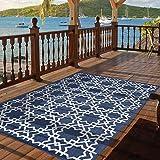 Indoor Outdoor Trellis Tile Area Rug (5'3' X 7'6', Navy)