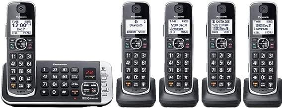Panasonic KX-TGE675B ( 5 Handset ) Cordless Phone with Answering System Bluetooth Link2Cell DECT 6.0 - Base KX-TGE674B, H/S KX-TGFA61B (Renewed)