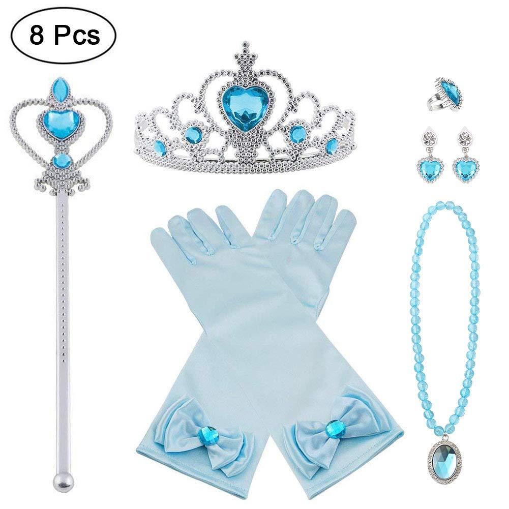 Vicloon Princesse Dress Up Accessoires,8pcs Elsa Cadeau Set pour Costume d'Elsa -Gants/Diadème/Baguette Magique/Bague/Boucles d'oreilles/Collier Cosplay Carnaval 3-8 Ans