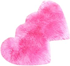 2pcs Heart Shaped Faux Sheepskin Sofa Cover Seat Pad Shaggy Area Rugs for Bedroom Floor - Rose Red