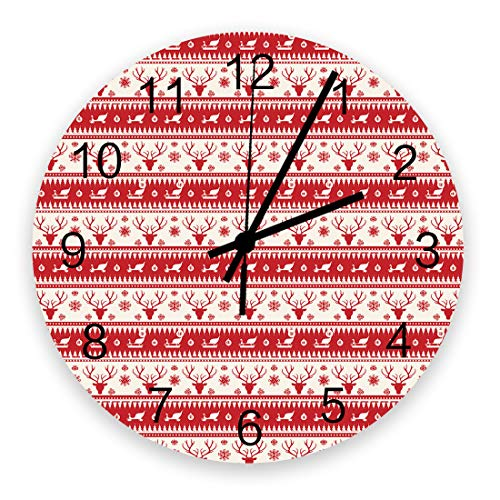Christmas Wall Clock Vintage Round Silent Non Ticking Battery Operated Accurate Arabic Numerals Design Home Decorative for Kitchen Living Room Bedroom Office Reindeer Head Classic Striped Design