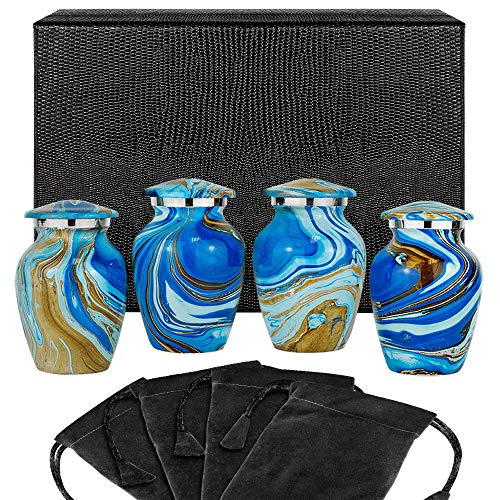 Ocean Tides Beautiful Small Keepsake Urn for Human Ashes - Set of 4 Urns - Find Comfort with These Keepsake Sharing Urns Beautiful Deep Blue and Brown Earth Tones - w Case