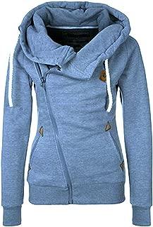Begonia.K Women's Oblique Zipper Hoodies Funnel Neck Full Zip Hooded Sweatshirt