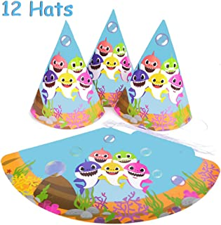 12 Baby Cute Shark Party Hat - Birthday Decorations Doo Doo Party Paper Hats for Children