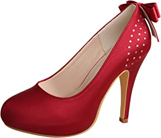 Wedopus MW100 Women's Back Bows Closed Toe High Heel Satin Purple Bridal Wedding Shoes