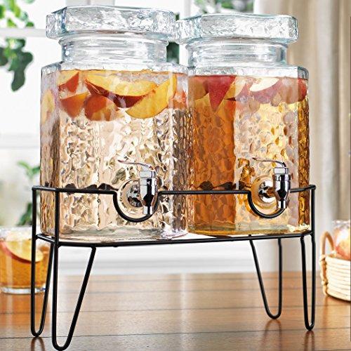 Home Essentials Doppelter Getränkespender, gehämmert, mit Ablage, Glas-Metall