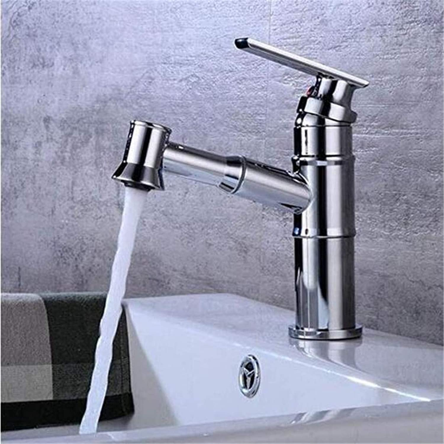 Modern Hot and Cold Vintage Platingbasin Faucet Antique Pull Type Chrome Water Tap Copper Wash Single Handle