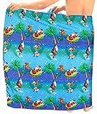 LA LEELA Men Christmas Santa Claus Full Sarong Swimwear Cover Up Beach Wrap One Size Blue_C72