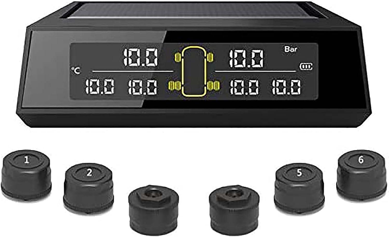 TERMALY Sistema De Monitoreo De Presión De Neumáticos TPMS para Camiones Y Vehículos Recreativos, Energía Solar Inalámbrica, Pantalla LCD Digital, Sistemas De Alarma De Seguridad para Automóviles